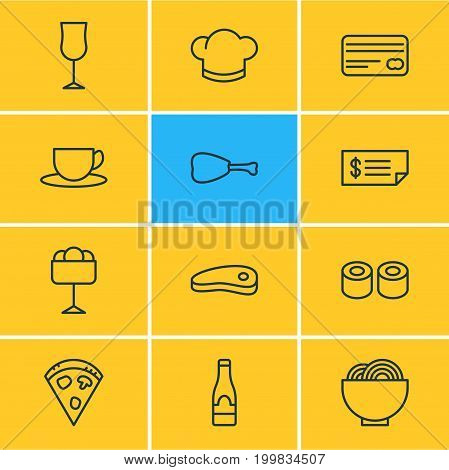Editable Pack Of Hat, Leg, Bacon And Other Elements.  Vector Illustration Of 12 Restaurant Icons.