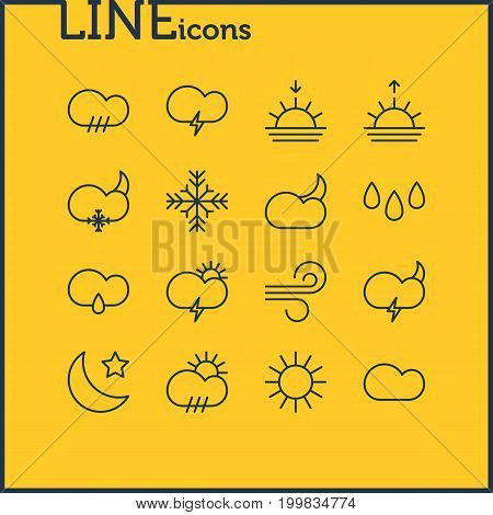 Editable Pack Of Sunlight, Fulminant, Breeze And Other Elements.  Vector Illustration Of 16 Sky Icons.