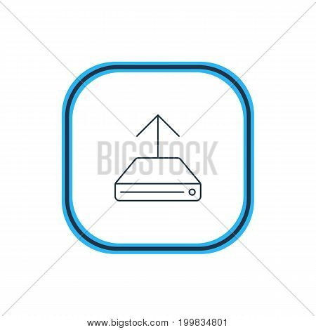 Beautiful Internet Element Also Can Be Used As Hdd Sync Element.  Vector Illustration Of Hard Drive Backup Outline.