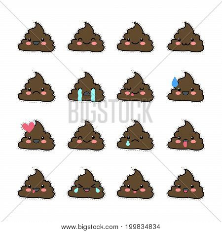 Set of cute kawaii badge. A collection of funny poop-emoticons. Stickers badges pack for a chat. Emoticons