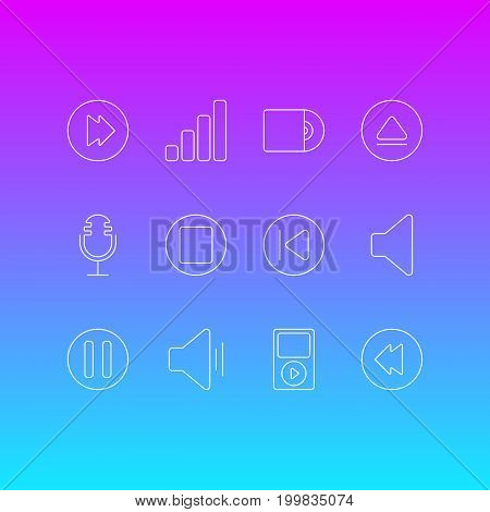 Editable Pack Of Pause, Compact Disk, Speaker And Other Elements.  Vector Illustration Of 12 Melody Icons.