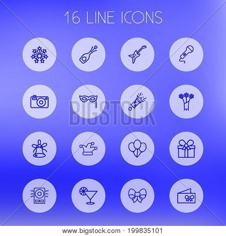 Collection Of Decorative, Mask, Camera And Other Elements.  Set Of 16 Party Outline Icons Set.