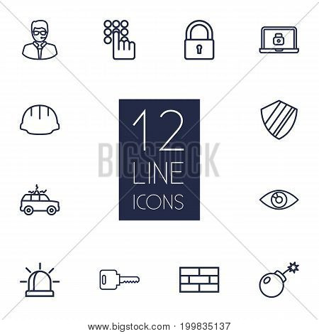Collection Of Siren, Open, Helmet And Other Elements.  Set Of 12 Procuring Outline Icons Set.