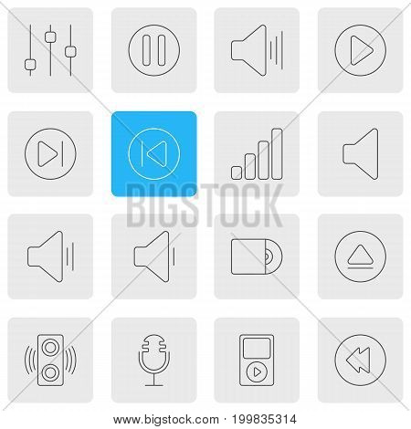 Editable Pack Of Rewind, Mike, Audio And Other Elements.  Vector Illustration Of 16 Melody Icons.