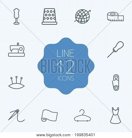 Collection Of Tremble, Pincushion, Crochet And Other Elements.  Set Of 12 Tailor Outline Icons Set.
