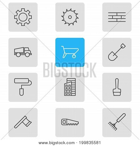 Editable Pack Of Harrow, Barrier, Lorry And Other Elements.  Vector Illustration Of 12 Structure Icons.