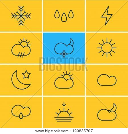 Editable Pack Of Rain, Crescent, Snowflake And Other Elements.  Vector Illustration Of 12 Sky Icons.