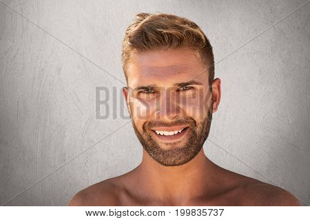 Close Up Of Smiling Young Man With Bristle, Trendy Hairstyle, Pure Healthy Skin, Having Glad Express