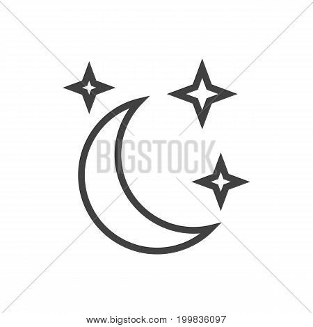 Vector Moon With Star Element In Trendy Style.  Isolated Midnight Outline Symbol On Clean Background.