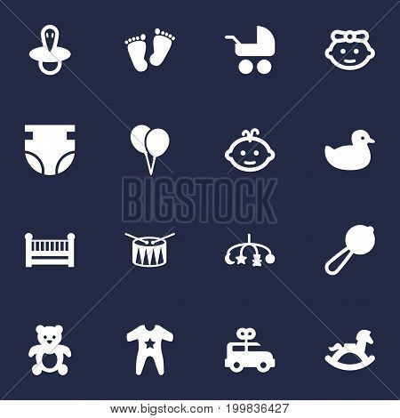 Collection Of Girl, Trace, Baby And Other Elements.  Set Of 16 Kid Icons Set.