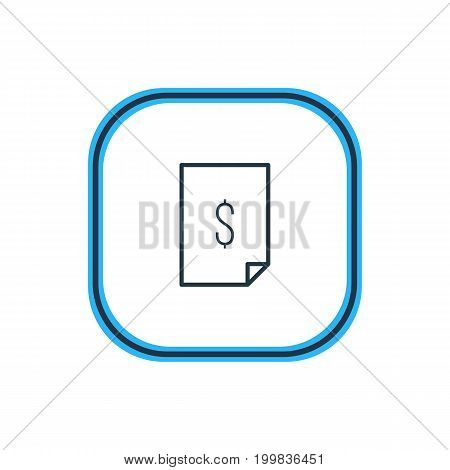 Beautiful Paper Element Also Can Be Used As Dollar  Element.  Vector Illustration Of Cheque Outline.