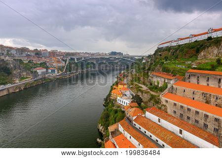 Aerial view of Porto from the bridge of Don Luis over the river Duero. poster