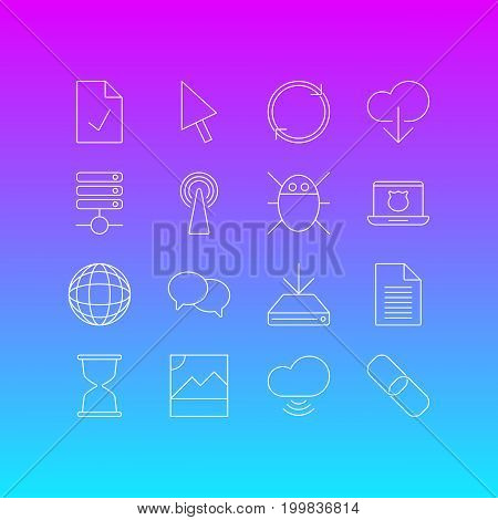 Editable Pack Of Sandglass, Chain, Checked Note Elements.  Vector Illustration Of 16 Network Icons.