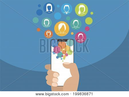 Social network vector illustration with icons. Hand holding modern bezel-free / frameless smartphone on blue background