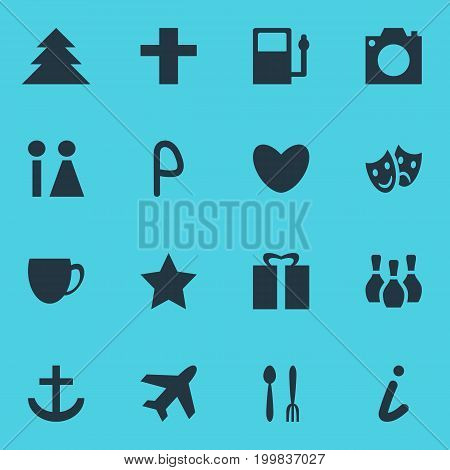 Editable Pack Of Cafe, Car Park, Present And Other Elements.  Vector Illustration Of 16 Location Icons.
