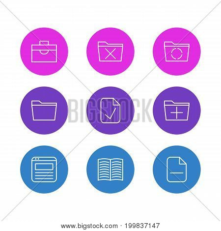 Editable Pack Of Loading, Template, Done And Other Elements.  Vector Illustration Of 9 Office Icons.