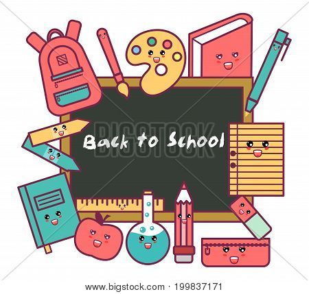 Back to School. Back to School colorful cartoon poster with blackboard and school supplies. Kawaii vector illustration.