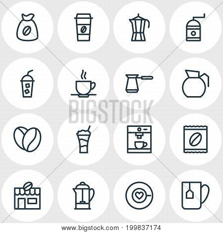 Editable Pack Of Seed, Cocktail, Espresso And Other Elements.  Vector Illustration Of 16 Drink Icons.