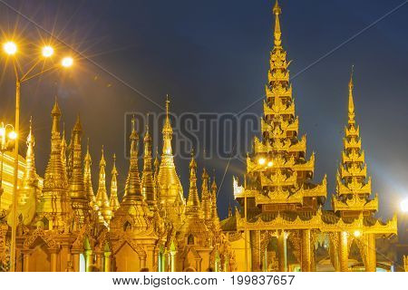 Shwedagon Pagoda at night , Myanmar (Burma) Yangon landmark