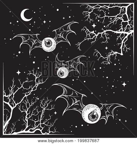 Flying eyeballs with creepy monster wings over the night sky with moon and stars hand drawn black and white halloween theme print design isolated vector illustration.
