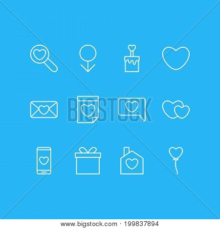 Editable Pack Of Soul, Smartphone, Magnifier And Other Elements.  Vector Illustration Of 12 Love Icons.