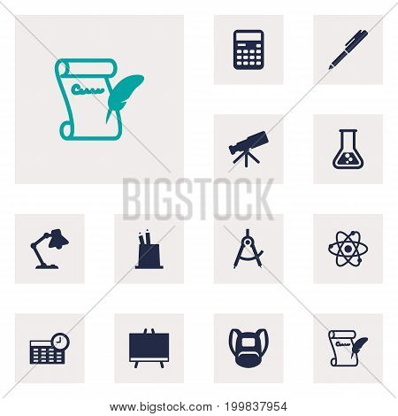 Collection Of Pen Holder, Blackboard, Table Light And Other Elements.  Set Of 12 Education Icons Set.