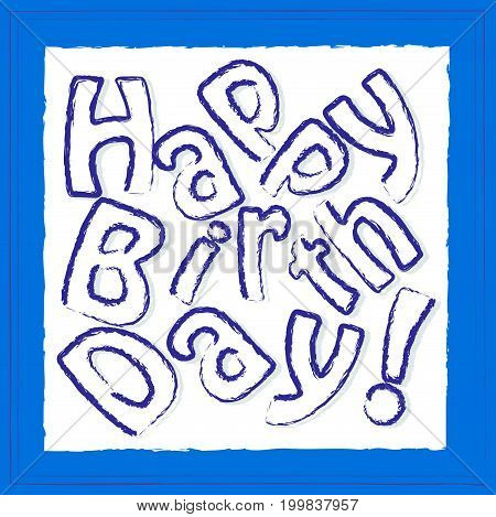 happy birthday blue greeting card for boys, broken text, square format