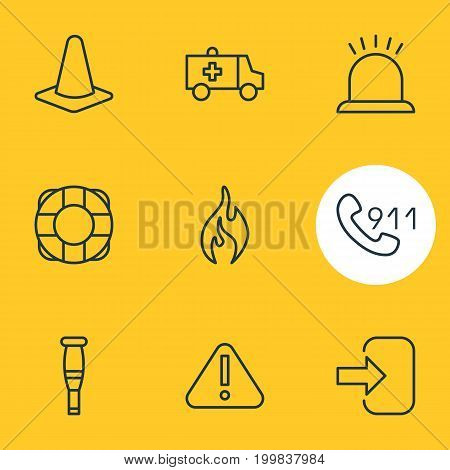 Editable Pack Of First-Aid, Spike, Exclamation And Other Elements.  Vector Illustration Of 9 Necessity Icons.