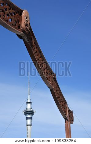 Auckland Sky Tower And Maori Gate