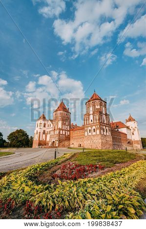 Mir, Belarus. Mir Castle Complex In  Sunny Summer Day. Architectural Ensemble Of Feudalism, Cultural Monument, UNESCO Heritage. Famous Landmark In Summer