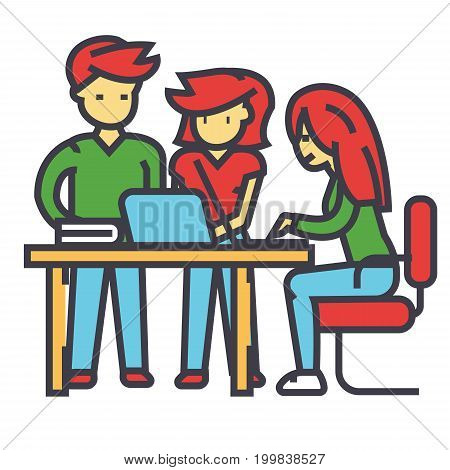 Business office team meeting, man and women working, brainstrorm, coworking center concept. Line vector icon. Editable stroke. Flat linear illustration isolated on white background