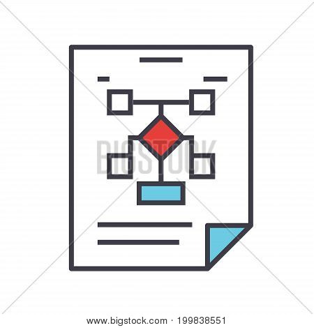 Business organization, flow chart, planning concept. Line vector icon. Editable stroke. Flat linear illustration isolated on white background