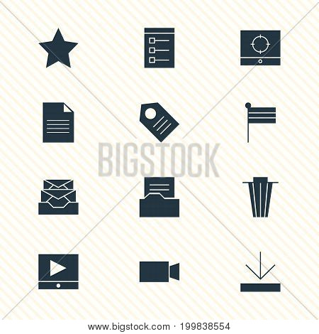 Editable Pack Of Play Button, Document Directory, Target Scope And Other Elements.  Vector Illustration Of 12 Internet Icons.