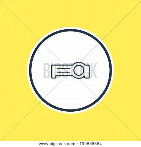 Beautiful Hardware Element Also Can Be Used As Floodlight Element.  Vector Illustration Of Projector Outline.