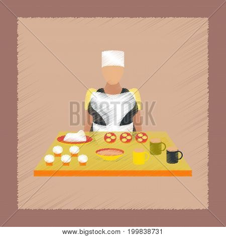flat shading style icon education school cook
