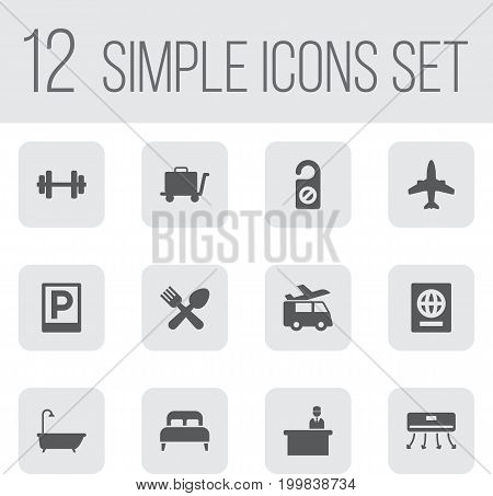 Collection Of Wall Cooler, Citizenship, Bedroom And Other Elements.  Set Of 12 Motel Icons Set.