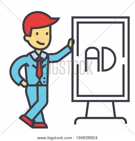 Young businessman with white stand board concept. Line vector icon. Editable stroke. Flat linear illustration isolated on white background