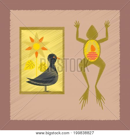flat shading style icon education Biology frog bird flowers