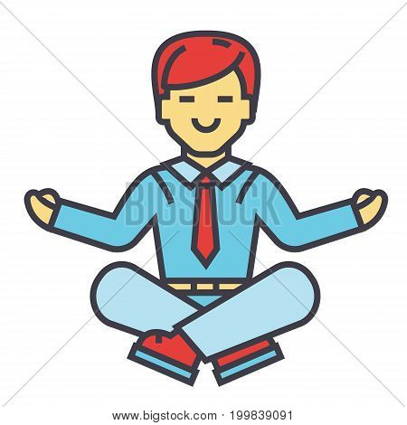 Businessman sitting in yoga pose, business meditation, corporate office worker relaxation concept. Line vector icon. Editable stroke. Flat linear illustration isolated on white background