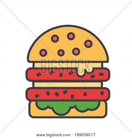 Cheeseburger, burger, hamburger concept. Line vector icon. Editable stroke. Flat linear illustration isolated on white background