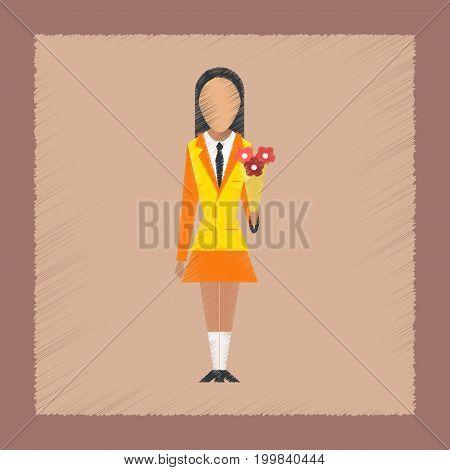 flat shading style icon school schoolgirl flowers