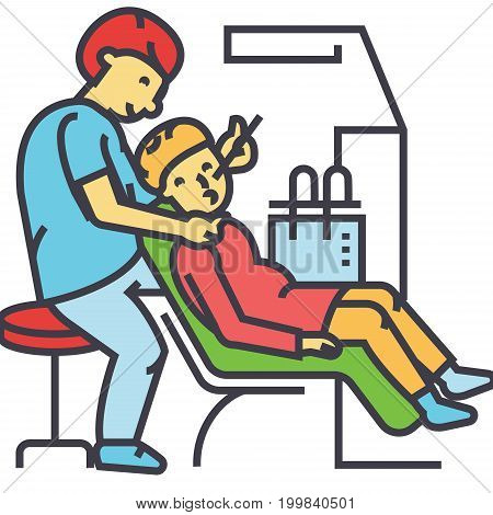 Dentist working , stomatology, dental patient concept. Line vector icon. Editable stroke. Flat linear illustration isolated on white background
