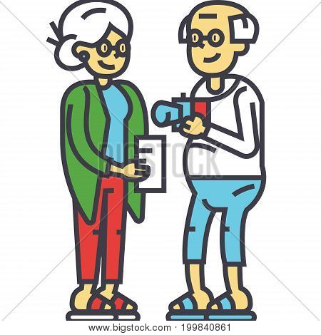 Elderly couple family on vacation concept. Line vector icon. Editable stroke. Flat linear illustration isolated on white background