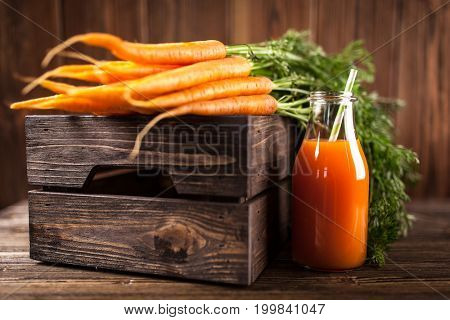Fresh organic carrot juice