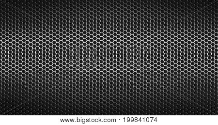 Closeup of holes in black metal textured background