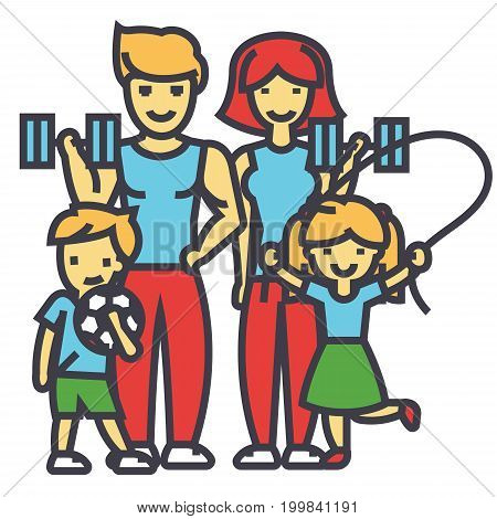 Active sport family, happy parents and children in gym, workout exercises concept. Line vector icon. Editable stroke. Flat linear illustration isolated on white background