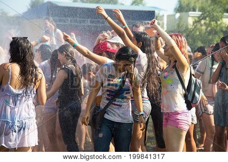 Odessa, Ukraine - August 5, 2017: Water Festival. Party Wet. Hands And Happy People Crowd Partying U