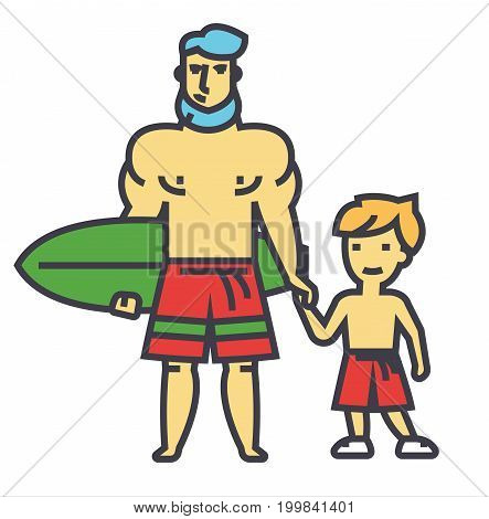 Happy father with son on vacation with surfing board concept. Line vector icon. Editable stroke. Flat linear illustration isolated on white background