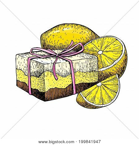 Handmade natural soap. Vector hand drawn illustration of organic cosmetic with lemon. Great for label, logo, banner, packaging, spa and body care promote