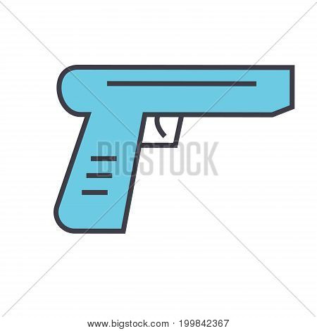 Gun concept. Line vector icon. Editable stroke. Flat linear illustration isolated on white background
